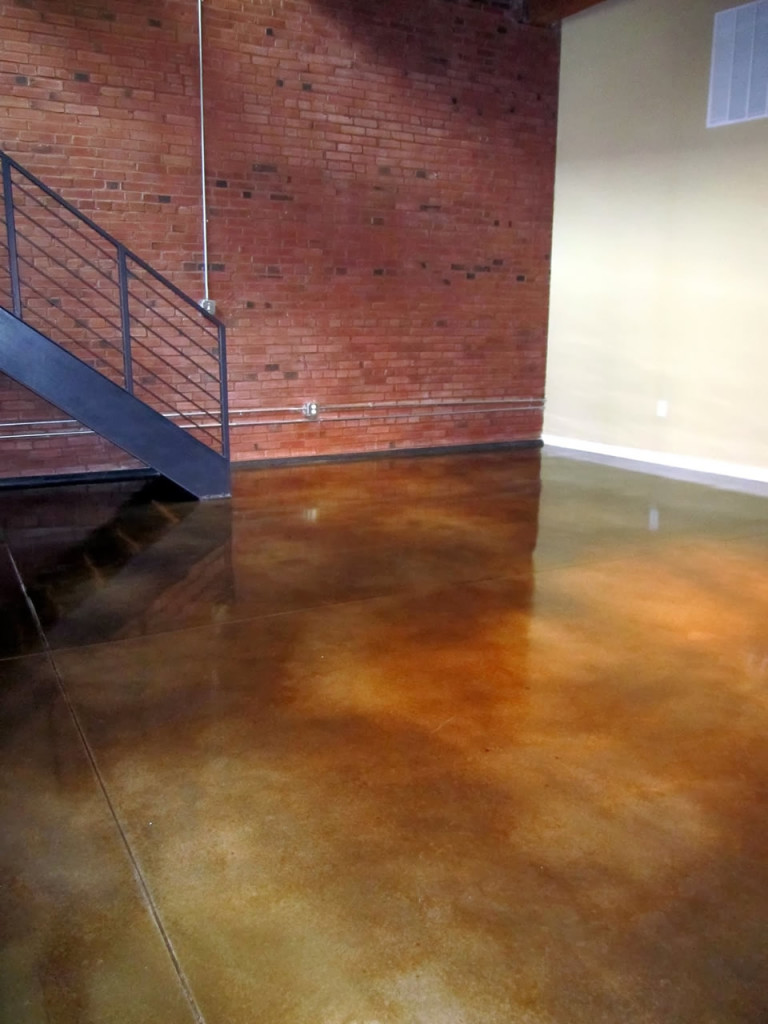 concrete floor with staining denver