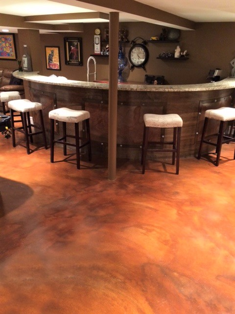 stained concrete basement denver