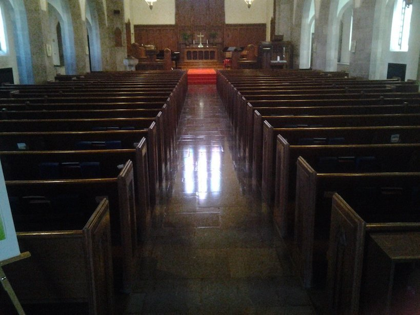 church flooring before